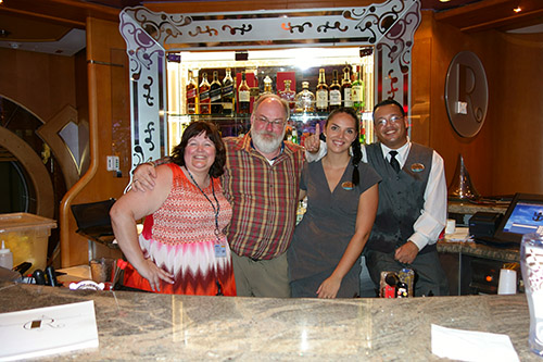 The R Bar on Deck Five was awesome. Bartenders Jelena (from Serbia) and Francisco (Dominican Republic) made a great team, lots of fun, and their drinks were tremendous. On Royal Caribbean's Navigator of the Seas on our Caribbean Cruise vacation