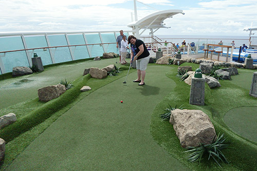 The mini golf course is actually very nice on Royal Caribbean's Navigator of the Seas on our Caribbean Cruise vacation. It's pretty tough for putt-putt golf though.
