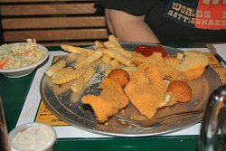 Catfish dinner at Rowdys Restaurant in Vicksburg Mississippi